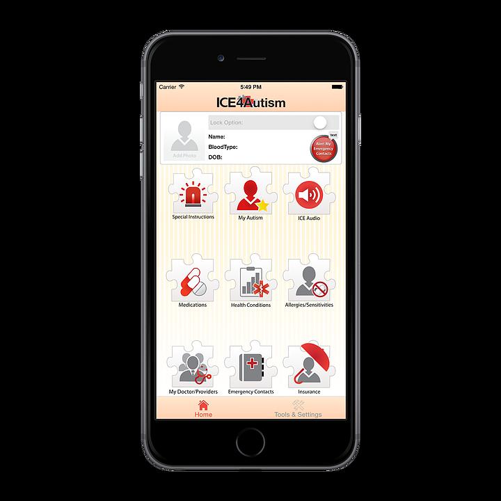 ice4autism app home screen